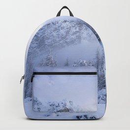 Winter wonderland, fog, spruce forest and mountains Backpack