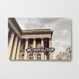 Metropolitain - Paris Metro Sign Metal Print