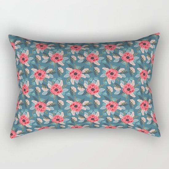 Poppy flowers garden nature mother trendy hipster boho botanical pattern floral print watercolor art Rectangular Pillow