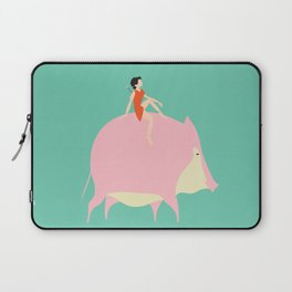 The boy on the Pig (green) Laptop Sleeve
