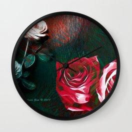 Roses Digital Art By Annie Zeno Wall Clock
