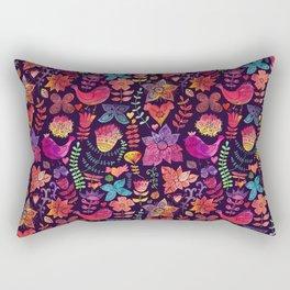 Watercolor birds and flowers Rectangular Pillow