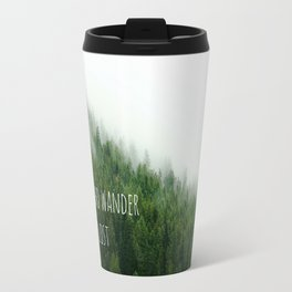 Not all Who Wander are lost - Tolkien quote, inspirational, travel forest photo green fog Travel Mug