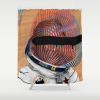 spaceman Shower Curtains featuring Spaceman No:2 by FAMOUS WHEN DEAD