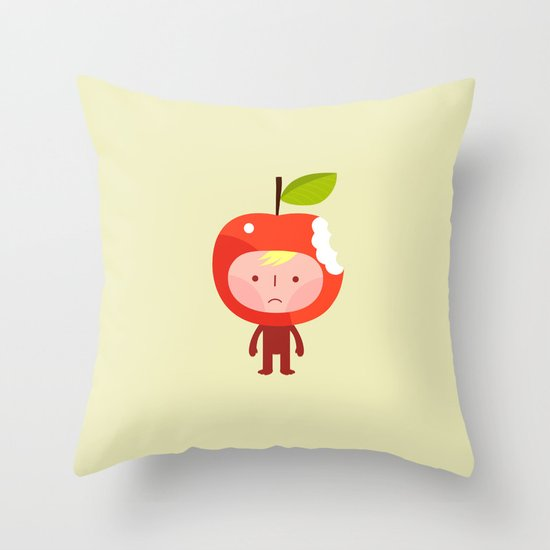 Apple face Throw Pillow