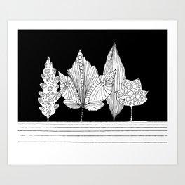 Leaves under black sky Art Print