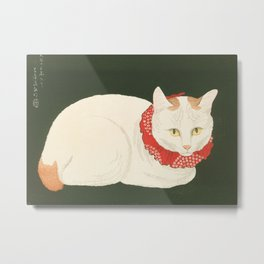 White Cat Japanese Woodblock Print Metal Print