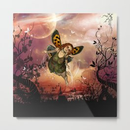 Cute little fairy in the night Metal Print