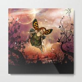 Cute little fairy in the night Metal Print