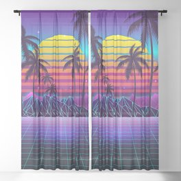 Radiant Sunset Synthwave Sheer Curtain