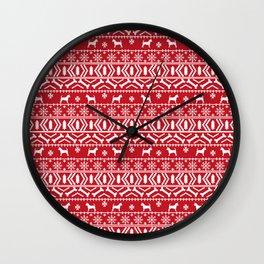 Chihuahua fair isle christmas sweater red and white minimal chihuahuas dog breed Wall Clock