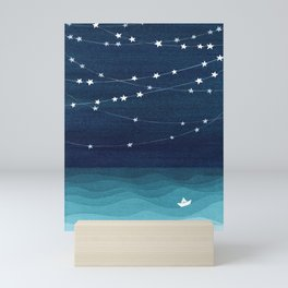 Garlands of stars, watercolor teal ocean Mini Art Print