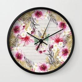 Elegant faux gold glitter pink tropical bird floral Wall Clock