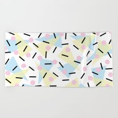 Funky Memphis Confetti Party Pattern Blue Pink Yellow Beach Towel