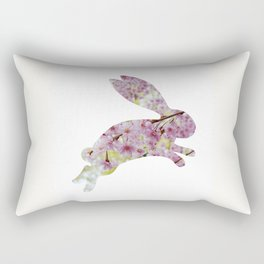 bunny rabbit silhouette floral leaping Rectangular Pillow