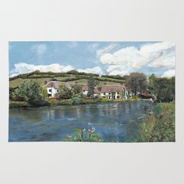 English Cottages by a River. Rug