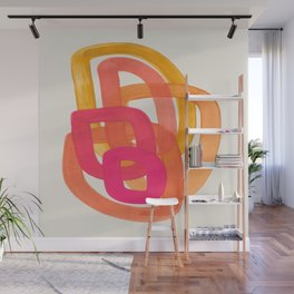 Funky Retro 70' Style Pattern Orange Pink Greindent Striped Circles Mid Century Colorful Pop Art Wall Mural