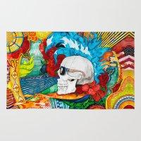 steve mcqueen Area & Throw Rugs featuring McQueen Skull by Karlyfries Studios
