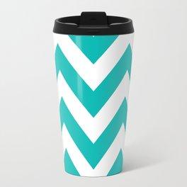 Large chevron pattern / tiffany blue Travel Mug