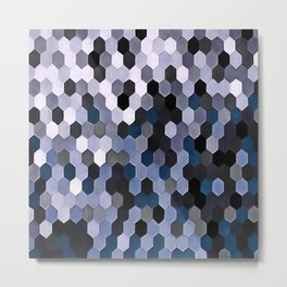 Honeycomb Pattern In Gray and Blue Wintry Colors Metal Print