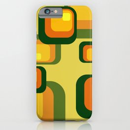 Vintage Rectangles green yellow pattern Design iPhone Case