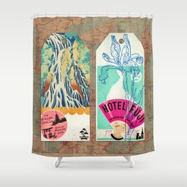 Label Fables, Japan I :: Fine Art Collage Shower Curtain