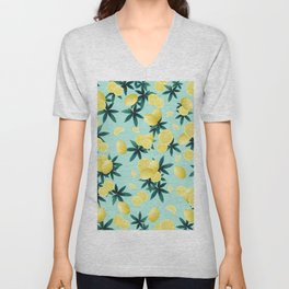Lemon Twist Vibes #1 #tropical #fruit #decor #art #society6 Unisex V-Neck