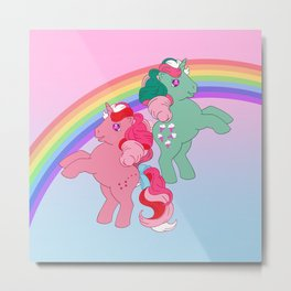 g1 my little pony Fizzy and Galaxy Metal Print