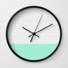 Minimal Gray Stripes - Mint Wall Clock