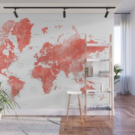 Living coral watercolor world map with cities Wall Mural