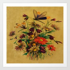 Stained Glass Dragonflies & Flowers Art Print