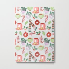 Cozy Christmas Pattern Metal Print