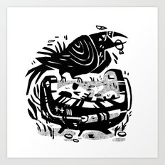 Crow Cauldron Art Print