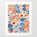 Mixed Florals - Peach & Blue Palette by catcoq
