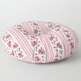 Vintage Floral Stripes - Coral Rose Floor Pillow