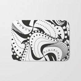 Black n White Zendoodle Waves Bath Mat