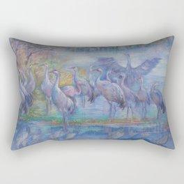 Wilde Birds in the forest lake Foggy morning Wildlife scene Autumn landscape pastel painting Rectangular Pillow