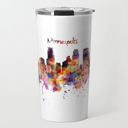 Minneapolis Watercolor Skyline Travel Mug