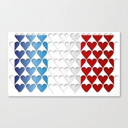 France Hearts Flag Canvas Print