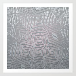 Silver Spiral Diamond Pattern Art Print
