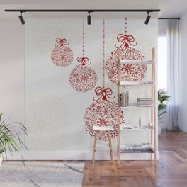 Christmas Baubles Made Of Snowflakes Wall Mural