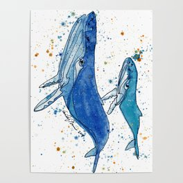 Whale Mommy and Baby Poster