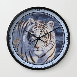 White Tiger with Blue Eyes Wall Clock