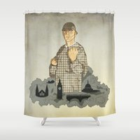 boxing Shower Curtains featuring Sherlock Holmes boxing by juliusllopis