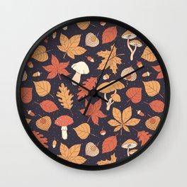 Autumn Pattern on Dark Blue Wall Clock