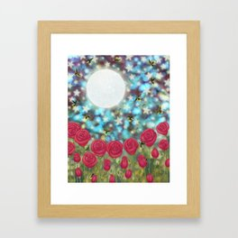 the moon, stars, fireflies, & roses Framed Art Print