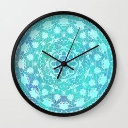 Refreshing Ocean Green Mandala Pattern Wall Clock