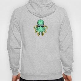 Cute Green Baby Octopus Wearing Sunglasses Hoody
