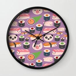 Kawaii sushi purple Wall Clock