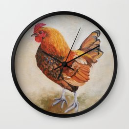 Chicken - Cockerel painting Wall Clock